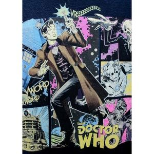 BBC Doctor Who Navy Blue T-SHIRT Large Graphic